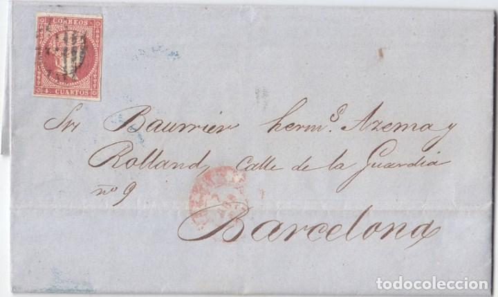 CARTA ENTERA DE VALENCIA A BARCELONA. 1856. 4 CUARTOS ROJO. (Sellos - España - Isabel II de 1.850 a 1.869 - Cartas)