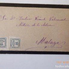 Sellos: CARTE LUTO DIRIGIDA A JULIO KURK VALCACER ADS, DE ADUANA DE MALAGA,. Lote 109139487