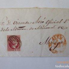 Sellos: CARTA ENVUELTA ,CIRCULADA A MALAGA, ADMISTRADOR DE ADUANAS, FRANQUEO 6 C, 1853, . Lote 109141283