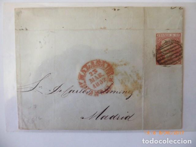 CARTA ENVUELTA FRANQUEO 6 C, 1852, Nº EDIFIL 12, ADUANA DE MADRID A MALAGA, 23 MARZO 1852, (Sellos - España - Isabel II de 1.850 a 1.869 - Cartas)