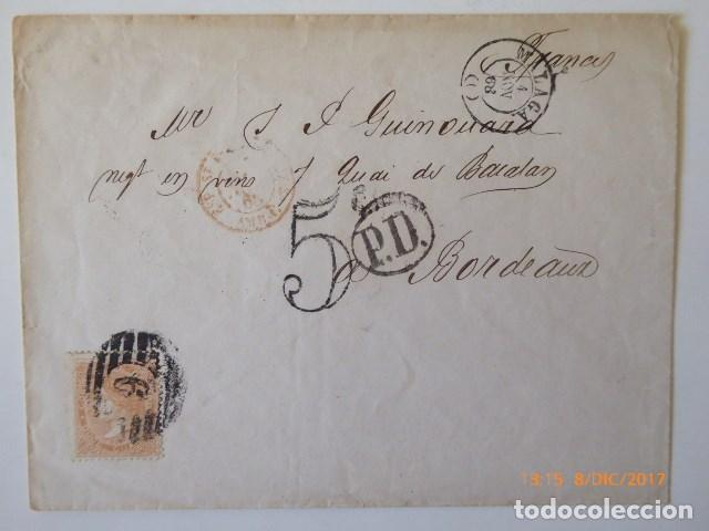CARTA DE BURDEOS, A MALAGA, FRANQUEO 12 CU, NARANJA O BEERMELLON, (Sellos - España - Isabel II de 1.850 a 1.869 - Cartas)