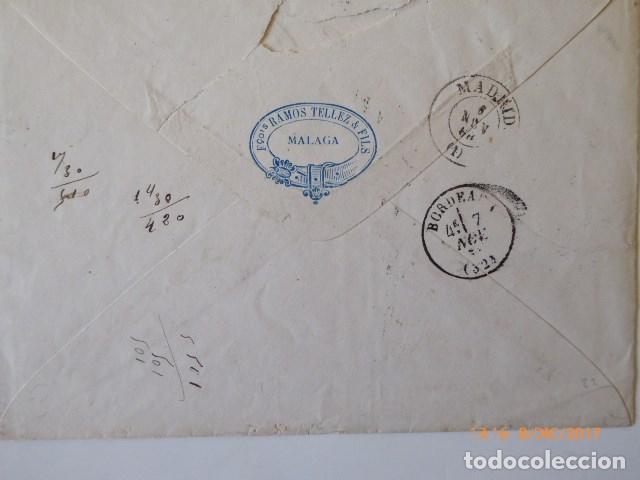 Sellos: carta de burdeos, a malaga, franqueo 12 cu, naranja o beermellon, - Foto 2 - 109142355