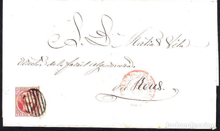 CARTA COMPLETA CON SELLO NUM 17 DE BARCELONA A REUS -ÚLTIMO DIA USO DEL MATASELLOS 31-12-1853 (Sellos - España - Isabel II de 1.850 a 1.869 - Cartas)