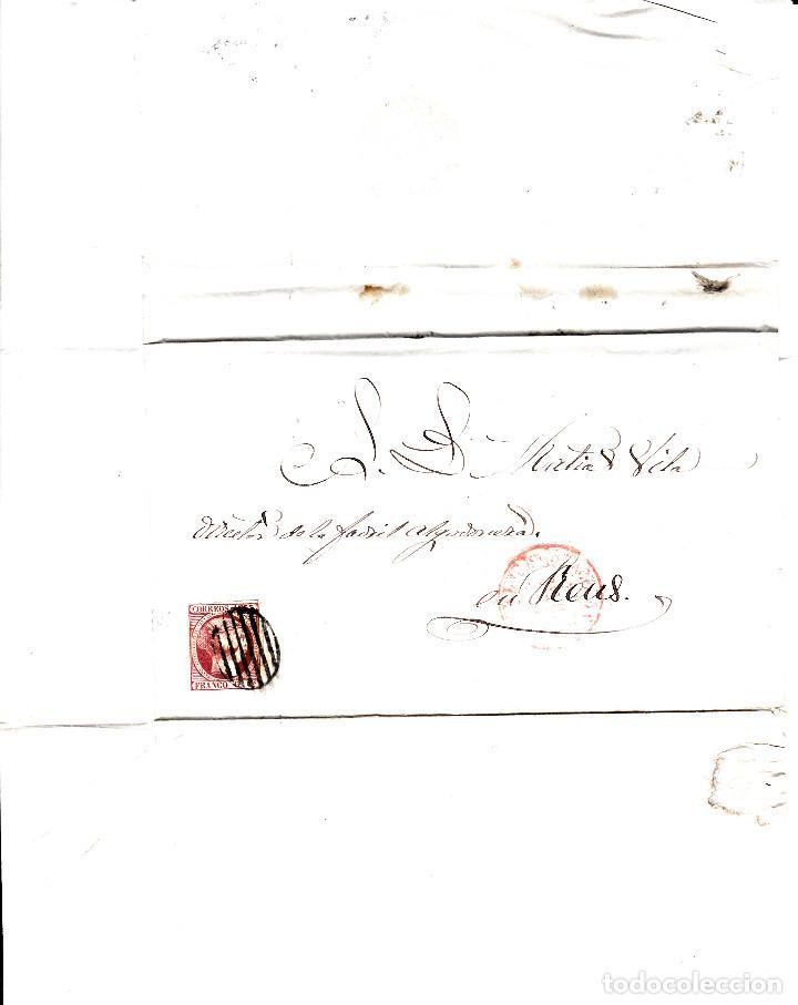 Sellos: CARTA COMPLETA CON SELLO NUM 17 DE BARCELONA A REUS -ÚLTIMO DIA USO DEL MATASELLOS 31-12-1853 - Foto 3 - 109196619