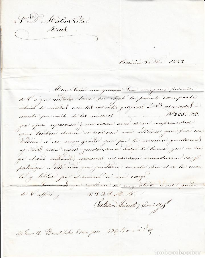 Sellos: CARTA COMPLETA CON SELLO NUM 17 DE BARCELONA A REUS -ÚLTIMO DIA USO DEL MATASELLOS 31-12-1853 - Foto 4 - 109196619