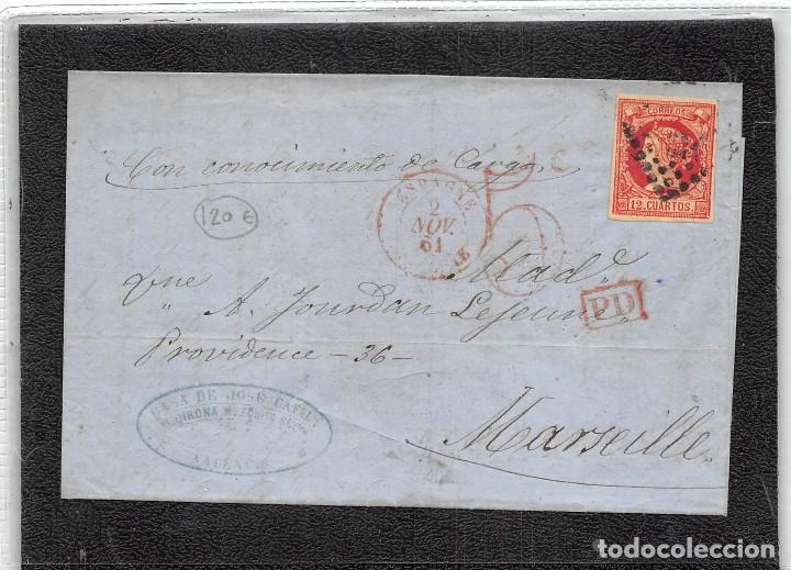 1862.- Nº 53 VALENCIA.- ROMBO DE PUNTOS CIFRA PEQUEÑA 1896 Y MANUSCRITO CON CONOCIMIENTO DE CARGO. (Sellos - España - Isabel II de 1.850 a 1.869 - Cartas)