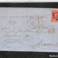 Sellos: 1862.- Nº 53 VALENCIA.- ROMBO DE PUNTOS CIFRA PEQUEÑA 1896 Y MANUSCRITO CON CONOCIMIENTO DE CARGO. . Lote 110191859
