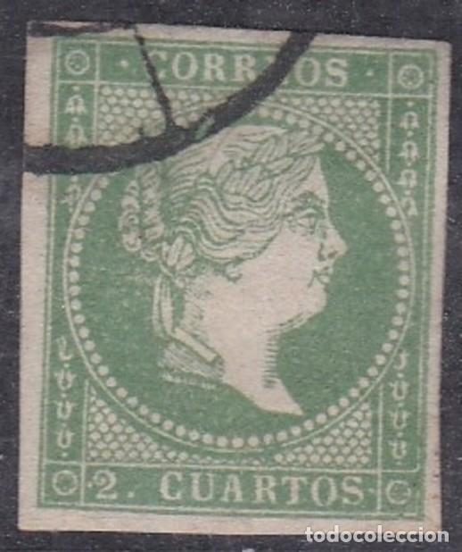 Nº 47 DOS CUARTOS MATASELLADO CON RUEDA DE CARRETA (Sellos - España - Isabel II de 1.850 a 1.869 - Usados)