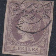 Sellos: Nº 56 DOS REALES MATASELLADO CON FECHADOR JEREZ. . Lote 111214231