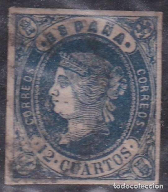 Nº 59 DOCE CUARTOS MATASELLADO. (Sellos - España - Isabel II de 1.850 a 1.869 - Usados)