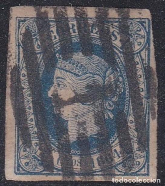 Nº 63 DOCE CUARTOS MATASELLADO CON PARRILLA NUM. 1. (Sellos - España - Isabel II de 1.850 a 1.869 - Usados)