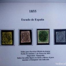 Sellos: SERIE COMPLETA ESPAÑA 1855. ESCUDO ESPAÑA. USADO. EDIF 36 A 38. Lote 111709835