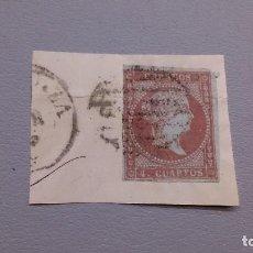 Sellos: 1855 - ISABEL II - EDIFIL 40 - SOBRE FRAGMENTO - MUY BONITO - VARIEDAD - FILIGRANA LAZOS DESPLAZADOS. Lote 111906123