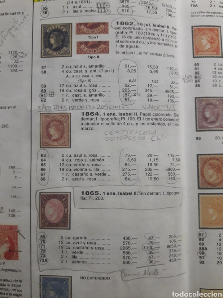Sellos: ISABEL II Coleccion Completa 1862-65: FILATELIA CALIDAD. SELLOS CLASICOS ESPANA. OFERTA -50% - Foto 10 - 112144258