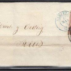 Sellos: ESPAÑA , 1856 4 CUARTOS. REUS A BARCELONA , MATASELLOS FECHADOR BARCELONA AZUL Y PARRILLA NEGRA ,. Lote 113150479