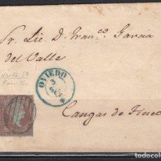 Sellos: ESPAÑA , 1855 4 CUARTOS . OVIEDO A CANGAS DE TINEO , MATASELLOS PARRILLA Y FECHADOR OVIEDO AZUL . . Lote 113152967