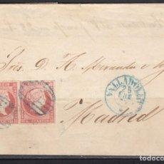 Sellos: ESPAÑA , 1856 4 CUARTOS. VALLADOLID A MADRID , MATASELLOS PARRILLA Y FECHADOR VALLADOLID AZUL.. Lote 113156879