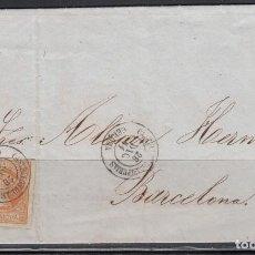 Sellos: ESPAÑA , 1860 4 CUARTOS. CASTELLÓN DE AMPURIAS A BARCELONA , MATASELLOS FECHADOR DE CASTELLÓN DE A.. Lote 113157983