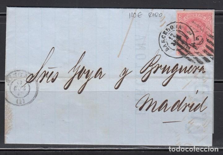ESPAÑA , 1864 4 CUARTOS , BARCELONA A MADRID , MATASELLOS PARRILLA CON CIFRA Y FECHADOR DE BARCELONA (Sellos - España - Isabel II de 1.850 a 1.869 - Cartas)