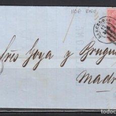 Sellos: ESPAÑA , 1864 4 CUARTOS , BARCELONA A MADRID , MATASELLOS PARRILLA CON CIFRA Y FECHADOR DE BARCELONA. Lote 113158767