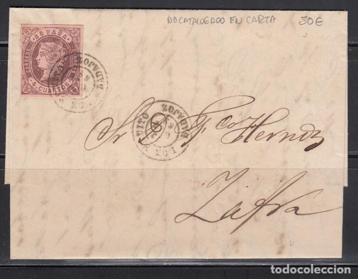 ESPAÑA ,1862 4 CUARTOS, DON BENITO A ZAFRA , MATASELLOS FECHADOR DON BENITO. (Sellos - España - Isabel II de 1.850 a 1.869 - Cartas)
