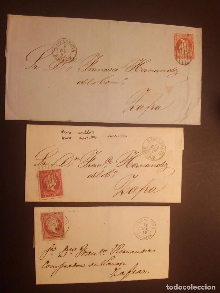 BARCARROTA BADAJOZ - FECHADORES TIPO I - II - ENVUELTAS 1857/59 - 4 CUARTOS ROJO - TAL FOTOS (Sellos - España - Isabel II de 1.850 a 1.869 - Cartas)
