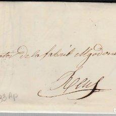 Sellos: CARTA ENTERA CON SELLO NUM 33 AP DE MANUEL GARRIGA EN ZARAGOZA-1855-MATASELLOS DE PARRILLA, FECHADOR. Lote 117420243
