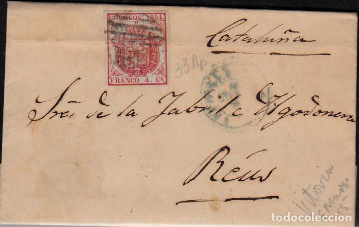 CARTA ENTERA CON SELLO NUM 33 AP DE JOSE M. DE SANTOS EN VITORIA -1855-FECHADOR AZUL Y PARRILLA (Sellos - España - Isabel II de 1.850 a 1.869 - Cartas)