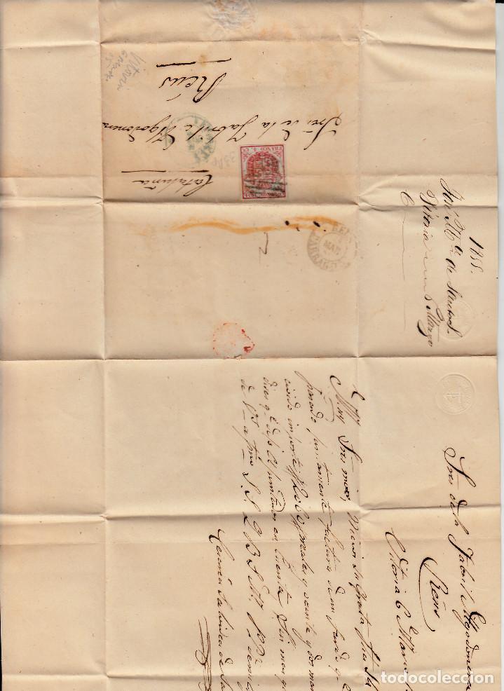Sellos: CARTA ENTERA CON SELLO NUM 33 Ap DE JOSE M. DE SANTOS EN VITORIA -1855-FECHADOR AZUL Y PARRILLA - Foto 2 - 117447191