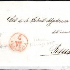 Sellos: CARTA ENTERA CON SELLO NUM 33 AP DE JOSÉ VALENTÍ EN VALENCIA -1855-FECHADOR ROJO Y PARRILLA. Lote 117447547