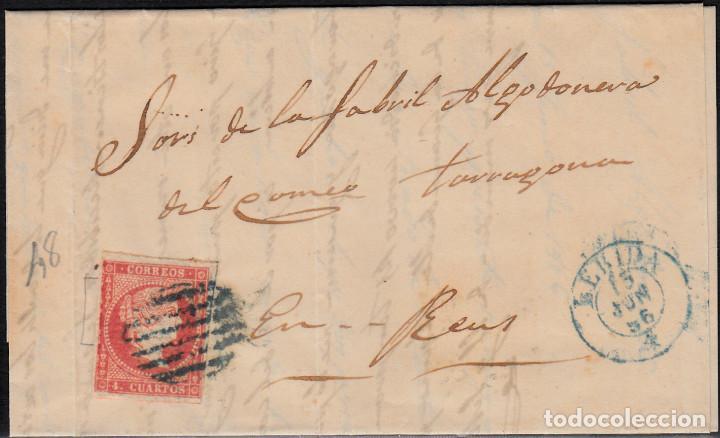 CARTA ENTERA CON SELLO NUM 48 DE MAGÍN LLORENS EN LLEIDA- 1856- FECHADOR Y PARRILLA AZULES (Sellos - España - Isabel II de 1.850 a 1.869 - Cartas)