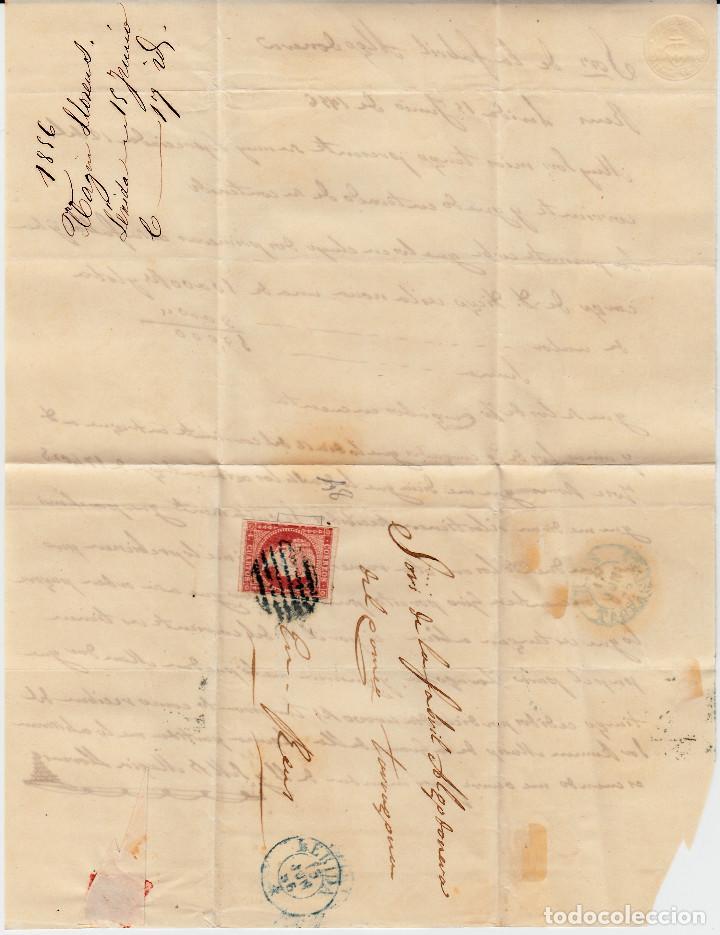 Sellos: CARTA ENTERA CON SELLO NUM 48 DE MAGÍN LLORENS EN LLEIDA- 1856- FECHADOR Y PARRILLA AZULES - Foto 2 - 117449187