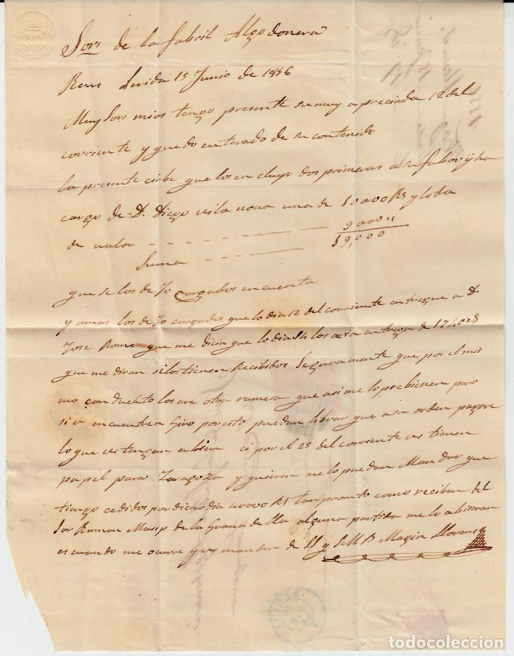 Sellos: CARTA ENTERA CON SELLO NUM 48 DE MAGÍN LLORENS EN LLEIDA- 1856- FECHADOR Y PARRILLA AZULES - Foto 3 - 117449187