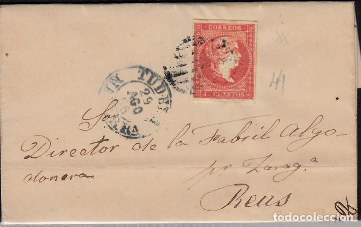 CARTA ENTERA CON SELLO NUM 44 DE JOSE FRANCA EN TUDELA 1856- FECHADOR Y PARRILLA (Sellos - España - Isabel II de 1.850 a 1.869 - Cartas)