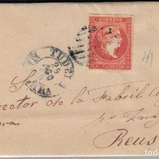Sellos: CARTA ENTERA CON SELLO NUM 44 DE JOSE FRANCA EN TUDELA 1856- FECHADOR Y PARRILLA . Lote 117451219