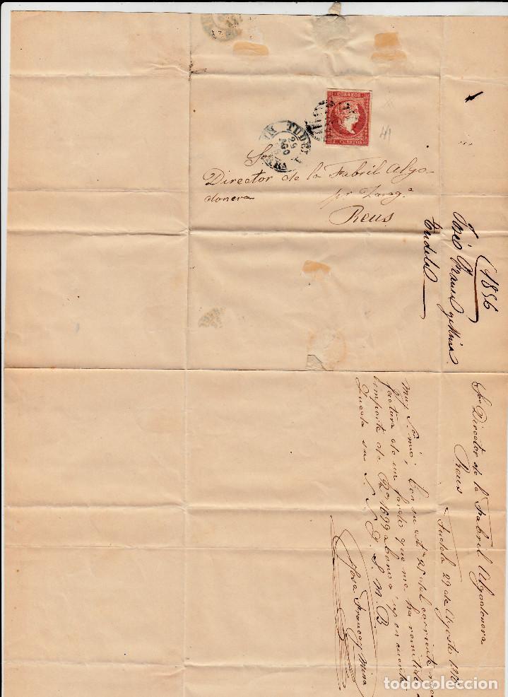 Sellos: CARTA ENTERA CON SELLO NUM 44 DE JOSE FRANCA EN TUDELA 1856- FECHADOR Y PARRILLA - Foto 2 - 117451219