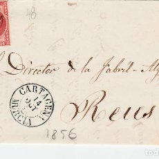 Sellos: CARTA ENTERA CON SELLO NUM 48 DE GERONIMO SUBEYAS EN CARTAGENA -1856-FECHADOR AZUL Y PARRILLA. Lote 117458199