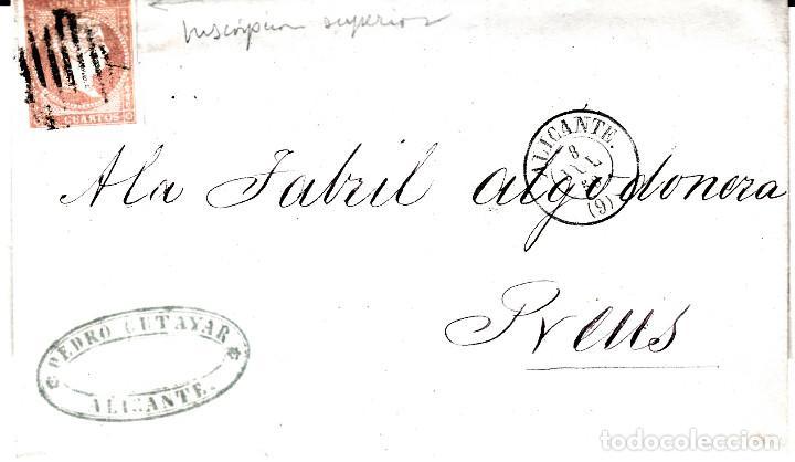 CARTA ENTERA CON SELLO NUM 48 DE PEDRO CUTAYAR EN ALICANTE -1858-FECHADOR Y PARRILLA (Sellos - España - Isabel II de 1.850 a 1.869 - Cartas)