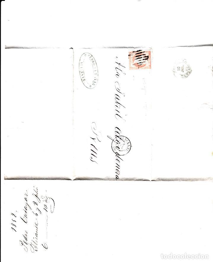 Sellos: CARTA ENTERA CON SELLO NUM 48 DE PEDRO CUTAYAR EN ALICANTE -1858-FECHADOR Y PARRILLA - Foto 2 - 117458643