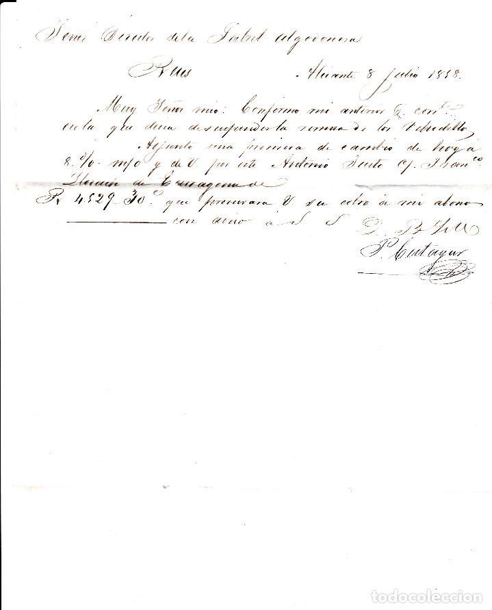 Sellos: CARTA ENTERA CON SELLO NUM 48 DE PEDRO CUTAYAR EN ALICANTE -1858-FECHADOR Y PARRILLA - Foto 3 - 117458643