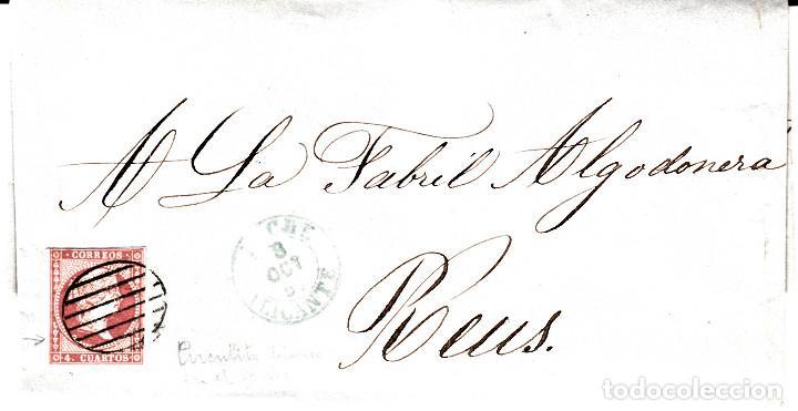 CARTA ENTERA CON SELLO NUM 48 DE JOSÉ M. LOPEZ EN ELCHE -1857-FECHADOR AZUL Y PARRILLA (Sellos - España - Isabel II de 1.850 a 1.869 - Cartas)