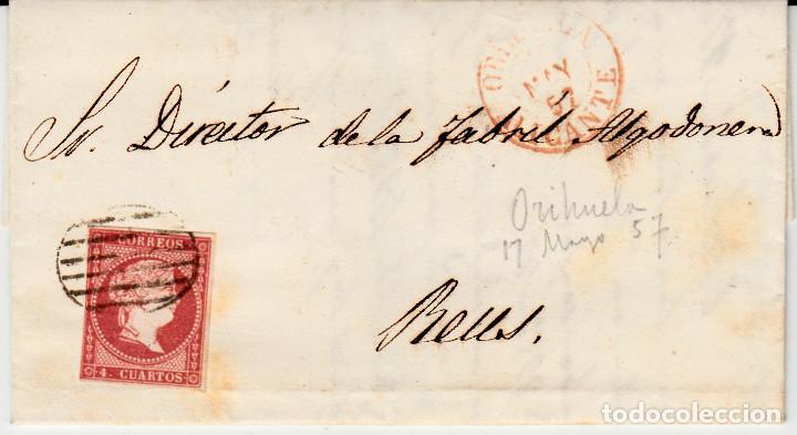 CARTA ENTERA CON SELLO NUM 48 DE JUAN VALLE EN ORIHUELA (ALICANTE) -1857- FECHADOR Y PARRILLA (Sellos - España - Isabel II de 1.850 a 1.869 - Cartas)