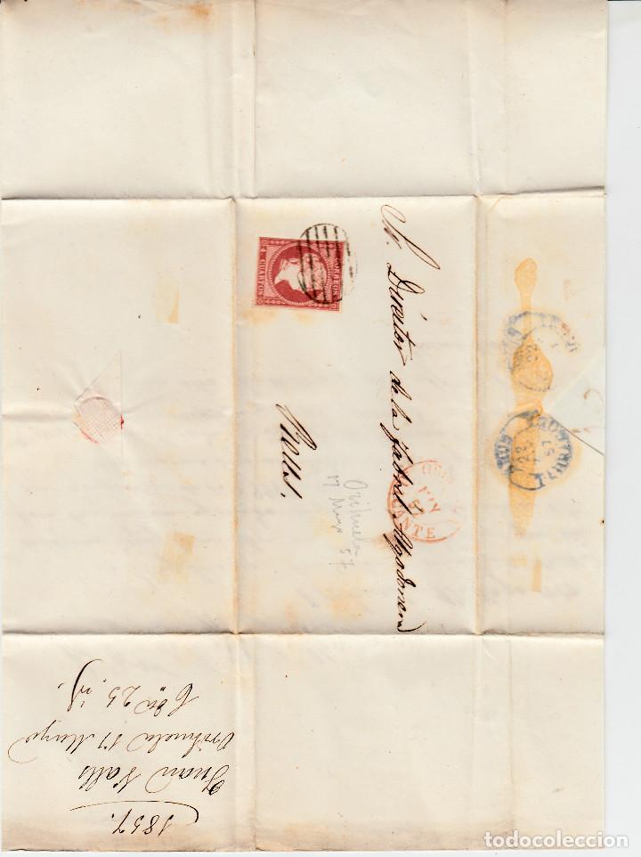 Sellos: CARTA ENTERA CON SELLO NUM 48 DE JUAN VALLE EN ORIHUELA (ALICANTE) -1857- FECHADOR Y PARRILLA - Foto 2 - 117461179