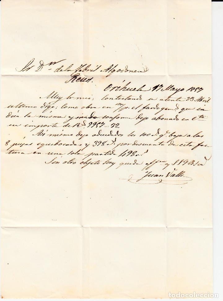 Sellos: CARTA ENTERA CON SELLO NUM 48 DE JUAN VALLE EN ORIHUELA (ALICANTE) -1857- FECHADOR Y PARRILLA - Foto 3 - 117461179