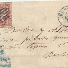 Sellos: CARTA 1856 BURGOS A BARCELONA FECHADOR TIPO 2 AZUL . Lote 118050199