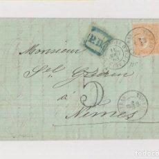 Sellos: CARTA ENTERA DE FIGUERAS. GERONA. GIRONA. CATALUÑA. A FRANCIA. 12 CUARTOS. LUJO. 1868. Lote 118448455
