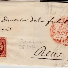 Sellos: CARTA ENTERA CON SELLO NUM 17 DE JUAN ALMOR EN ZARAGOZA -1853 MATASELLOS PARRILLA Y BAEZA. Lote 119200147