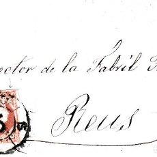 Sellos: CARTA ENTERA CON SELLO NUM 48 DE ZARAGOZA A REUS 1859- RUEDA DE CARRETA. Lote 119201451