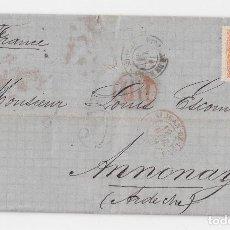 Sellos: CARTA ESCRITA EN HARO. RIOJA. FECHADOR MIRANDA DE EBRO. BURGOS A FRANCIA. DORSO RARO AMBULANTE 186. Lote 119351283