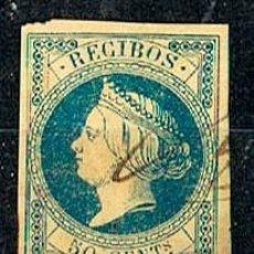 Sellos: SELLO DE RECIBOS AÑO 1862, ISABEL II SIN DENTAR, 50 CENT. Lote 120123263